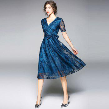 Spring and Summer 2018 New V-Neck Lace Dress - PEACOCK BLUE S
