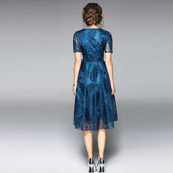 Spring and Summer 2018 New V-Neck Lace Dress - PEACOCK BLUE M