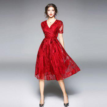 Spring and Summer 2018 New V-Neck Lace Dress - RED XL