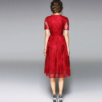 Spring and Summer 2018 New V-Neck Lace Dress - RED M