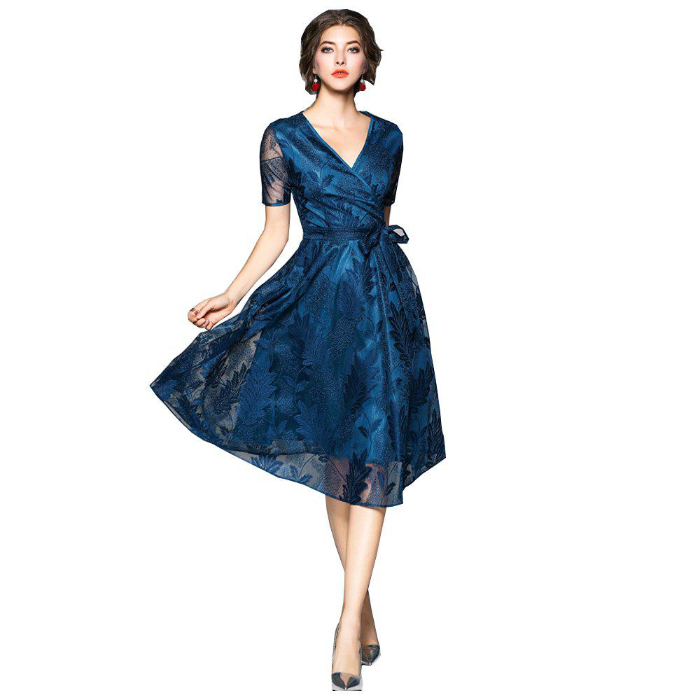 Spring and Summer 2018 New V-Neck Lace Dress - PEACOCK BLUE L