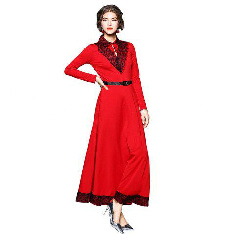 Lapel Long Sleeve Waist Big Swing Vintage Dress - RED L