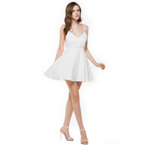 New Stereo Angel Wing Strap Dress - WHITE M
