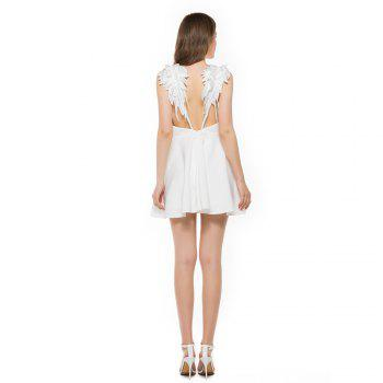 New Stereo Angel Wing Strap Dress - WHITE S