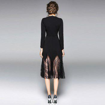 Long Sleeve Round Neck Embroidery Lace Patchwork Dress - BLACK S