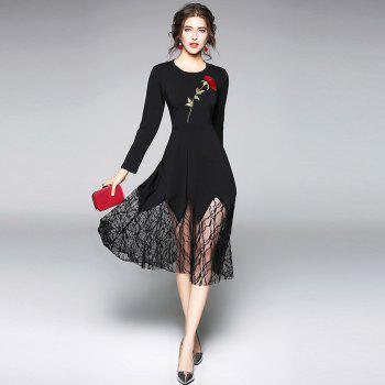 Long Sleeve Round Neck Embroidery Lace Patchwork Dress - BLACK M