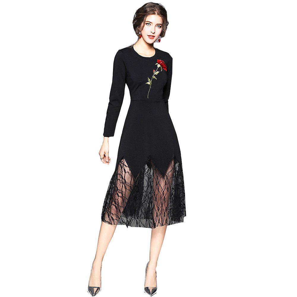 Long Sleeve Round Neck Embroidery Lace Patchwork Dress - BLACK XL