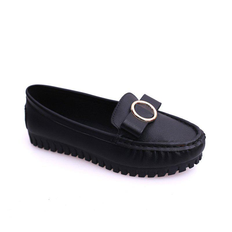 Flat Bottom Round Head Bean Curd With Women's Shoes - BLACK 36