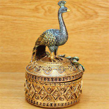 Resin Crafts Peacock Jewelry Box Home Decoration Wedding Gifts - GOLDEN/GREEN
