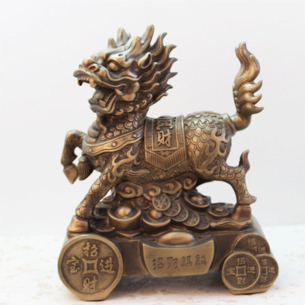 Resins Antique Copper Kirin Office Living Room Decoration - BRONZED
