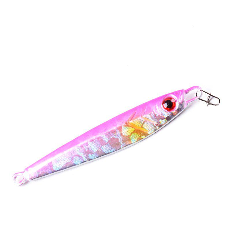 Metal Spoon Fishing Lures Artificial Fake Bait 7G 5CM 5 Pieces - PINK