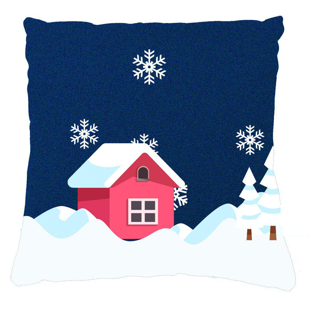Winter Home Decor Red House Snow Pillow Cases - CADETBLUE 16INCH*16INCH