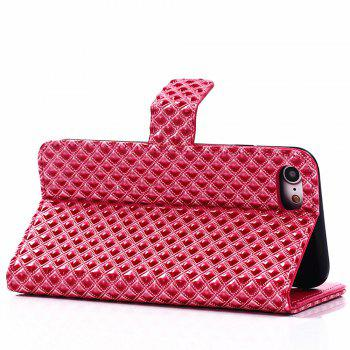 Cover Case for iPhone 7 / 8 Fine Rhombic Leather - RED