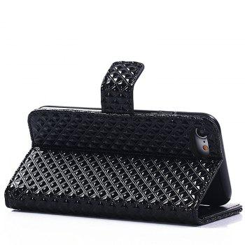 Cover Case for iPhone 7 / 8 Fine Rhombic Leather - BLACK
