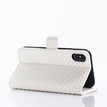 Cover Case for iPhone X Fine Rhombic Leather - WHITE