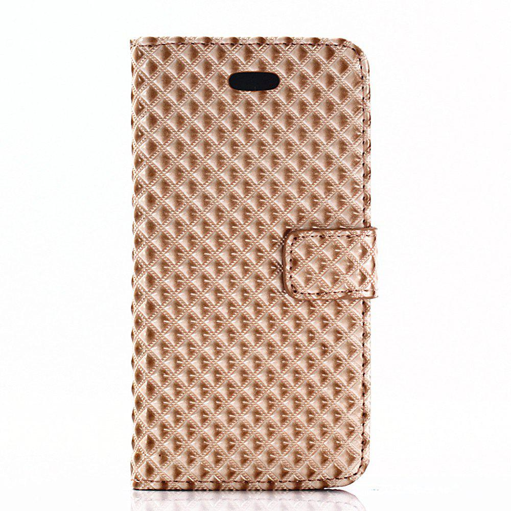 Cover Case for iPhone X Fine Rhombic Leather - GOLDEN