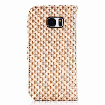 Cover Case for Samsung Galaxy S7 Edge Fine Rhombic Leather - GOLDEN