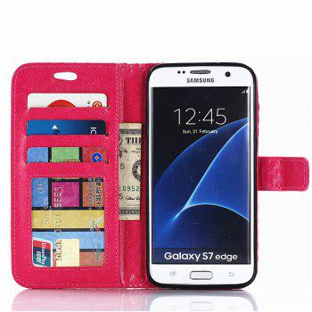 Cover Case for Samsung Galaxy S7 Edge Fine Rhombic Leather - RED