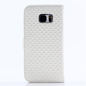 Cover Case for Samsung Galaxy S7 Edge Fine Rhombic Leather - WHITE