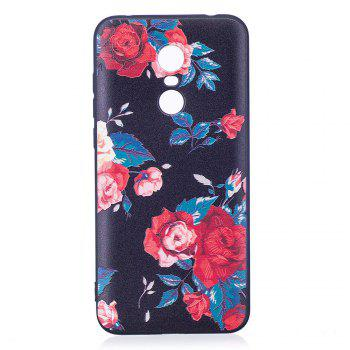 Relief Silicone Case for Xiaomi Redmi 5 Red Flowers Pattern Soft TPU Protective Back Cover - RED