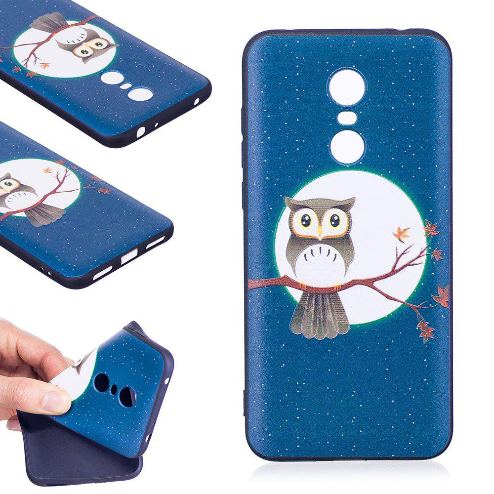 Relief Silicone Case for Xiaomi Redmi 5 Plus Moon and Owl Pattern Soft TPU Protective Back Cover - BLUE