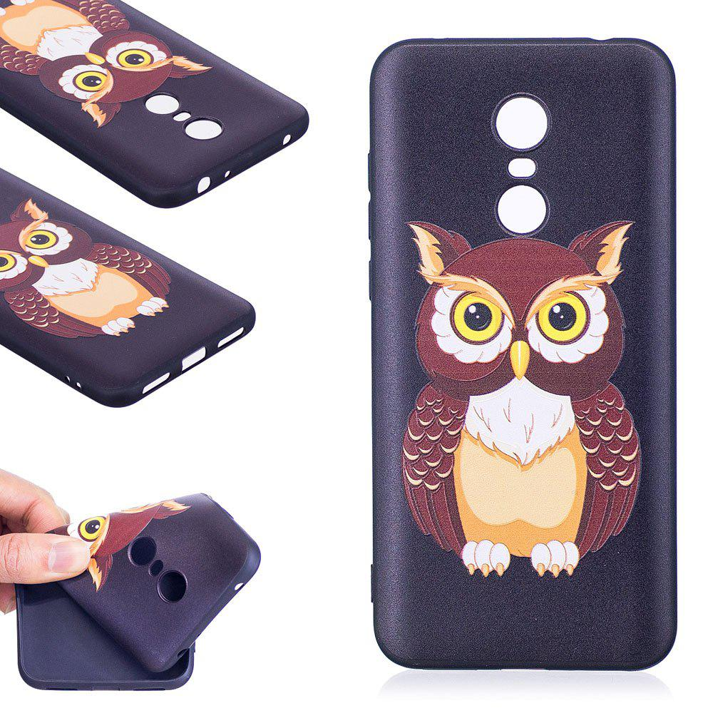 Relief Silicone Case for Xiaomi Redmi 5 Plus Owl Pattern Soft TPU Protective Back Cover - BROWN