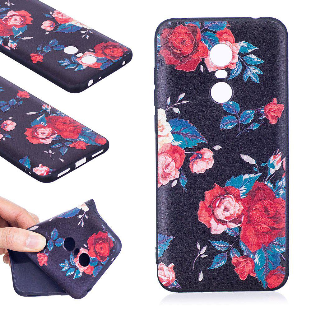 Relief Silicone Case for Xiaomi Redmi 5 Plus Red Flowers Pattern Soft TPU Protective Back Cover - RED