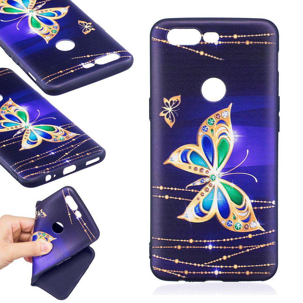 Relief Silicone Case for Oneplus 5T Large Butterfly Pattern Soft TPU Protective Back Cover - GOLDEN