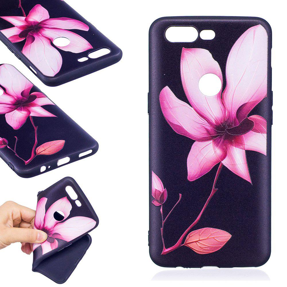 Relief Silicone Case for Oneplus 5T Lotus Pattern Soft TPU Protective Back Cover - PINK
