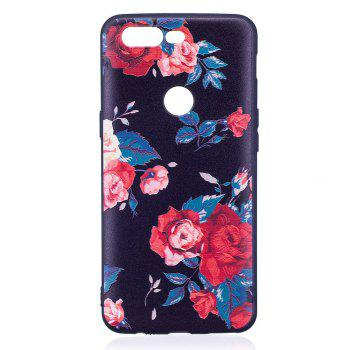 Relief Silicone Case for Oneplus 5T Red Flowers Pattern Soft TPU Protective Back Cover - RED