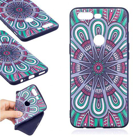 Relief Silicone Case for Oneplus 5T Mandala Pattern Soft TPU Protective Back Cover - BLUE