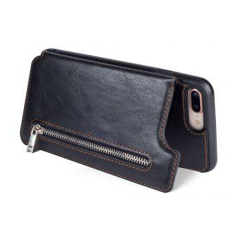 Leather Business Case for iPhone 7 Plus / 8 Plus Zipper Handbag Wallet Flip Cover - BLACK