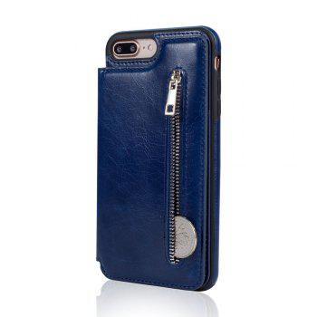 Leather Business Case for iPhone 7 Plus / 8 Plus Zipper Handbag Wallet Flip Cover - BLUE