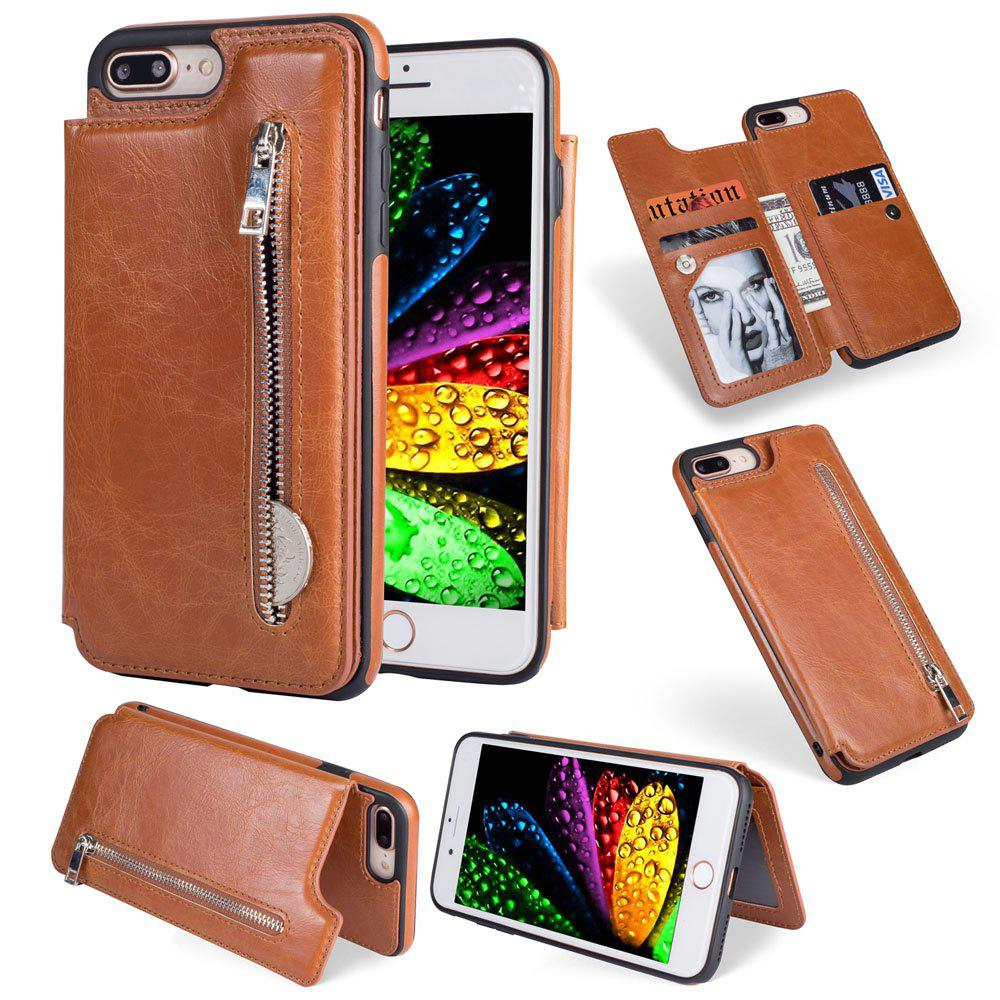 Leather Business Case for iPhone 7 Plus / 8 Plus Zipper Handbag Wallet Flip Cover - BROWN