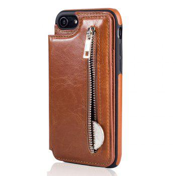 Leather Business Case for iPhone 7 / 8 Zipper Handbag Wallet Flip Cover - BROWN