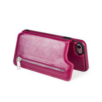 Leather Business Case for iPhone 7 / 8 Zipper Handbag Wallet Flip Cover - ROSE RED