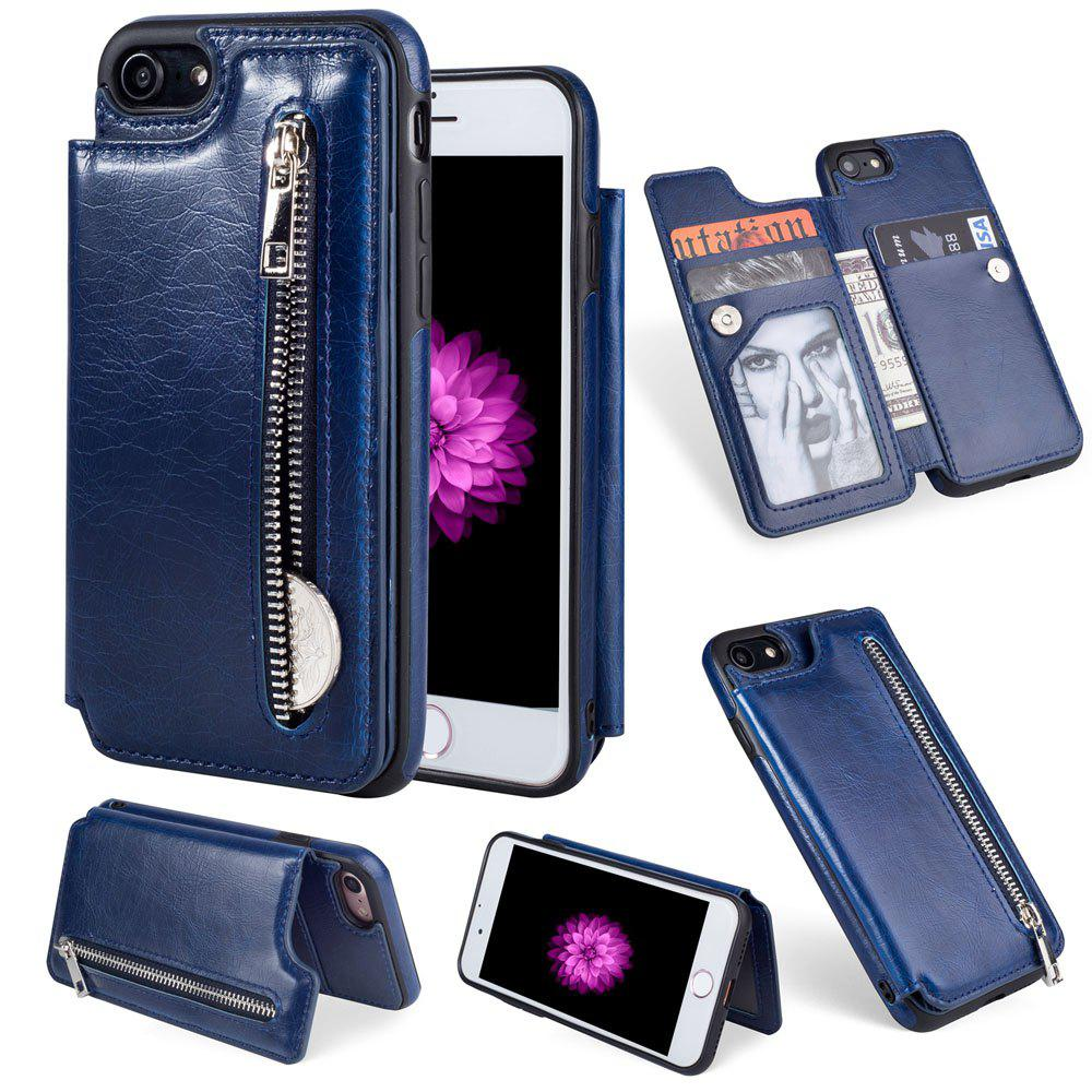 Leather Business Case for iPhone 7 / 8 Zipper Handbag Wallet Flip Cover - BLUE