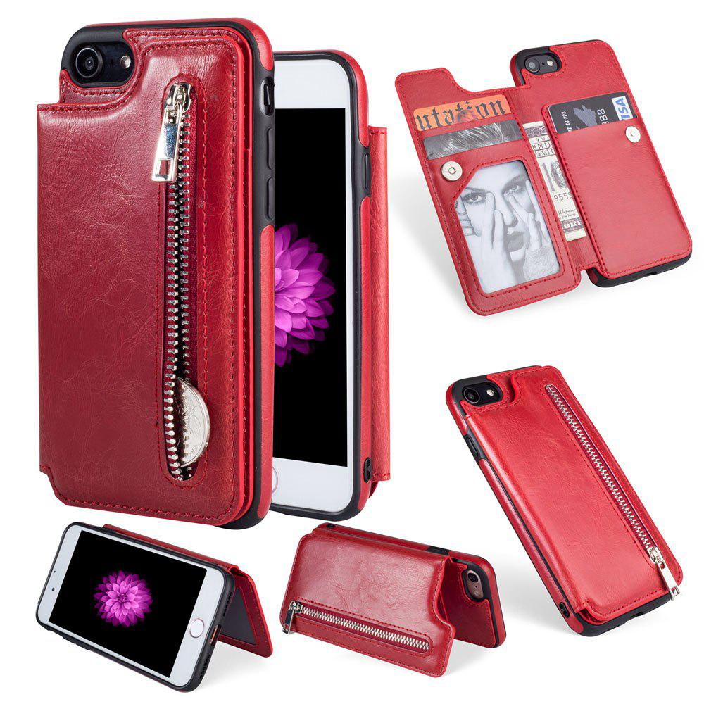 Leather Business Case for iPhone 7 / 8 Zipper Handbag Wallet Flip Cover - RED