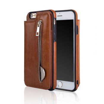 Leather Business Case for iPhone 6 / 6S Zipper Handbag Wallet Flip Cover - BROWN