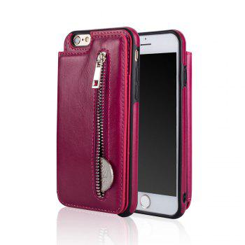 Leather Business Case for iPhone 6 / 6S Zipper Handbag Wallet Flip Cover - ROSE RED