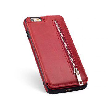 Leather Business Case for iPhone 6 / 6S Zipper Handbag Wallet Flip Cover - RED