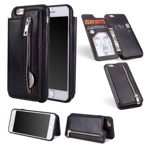 Leather Business Case for iPhone 6 Plus/ 6S Plus Zipper Handbag Wallet Flip Cover - BLACK