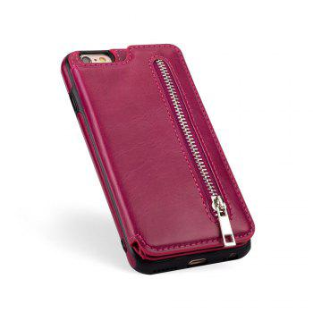 Leather Business Case for iPhone 6 Plus/ 6S Plus Zipper Handbag Wallet Flip Cover - ROSE RED