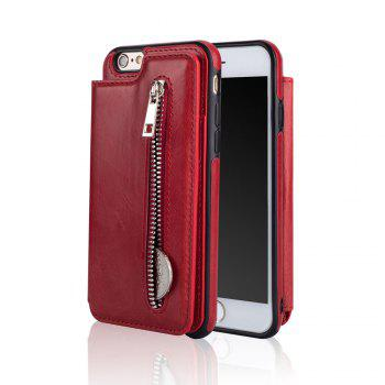 Leather Business Case for iPhone 6 Plus/ 6S Plus Zipper Handbag Wallet Flip Cover - RED