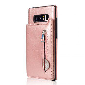 Leather Business Case for Samsung Galaxy Note 8 Zipper Handbag Wallet Flip Cover - ROSE GOLD