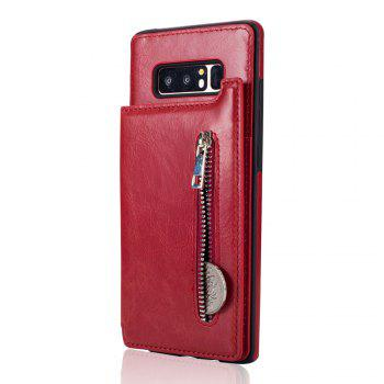 Leather Business Case for Samsung Galaxy Note 8 Zipper Handbag Wallet Flip Cover - RED