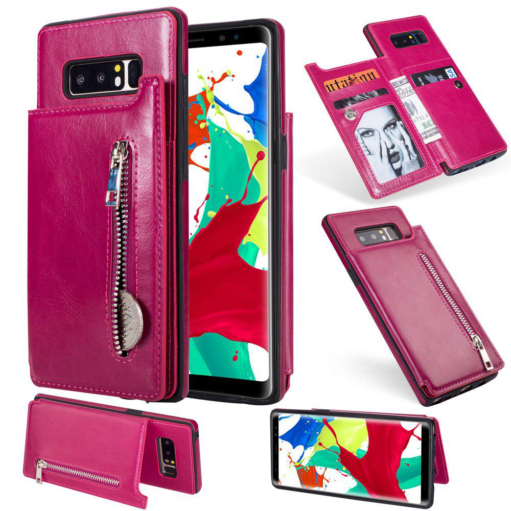 Leather Business Case for Samsung Galaxy Note 8 Zipper Handbag Wallet Flip Cover - ROSE RED