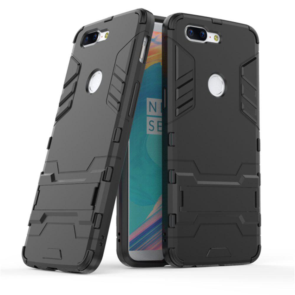 Cool Armor Rugged Kickstand Case for OnePlus 5T Hybrid Shockproof Phone Back Cover - BLACK