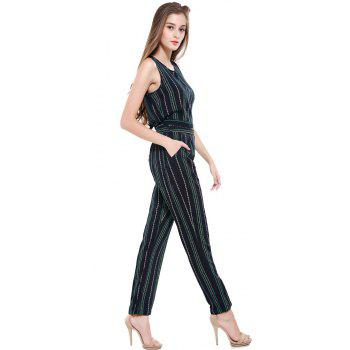 Summer Fashion Striped Cotton Sleeveless Vest Sexy Exposed Navel Trousers Two-Piece Suit - CADETBLUE 3XL
