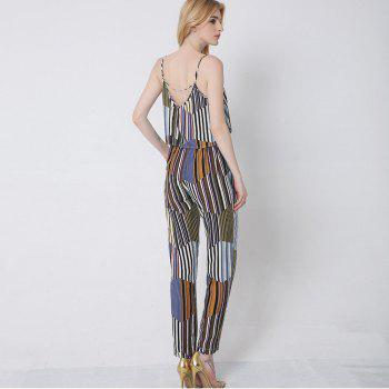 Womens Summer Fashion Geometric Striped Bohemian Cotton Halter Sexy Lumbar Trousers Set - BLUE STRIPE M